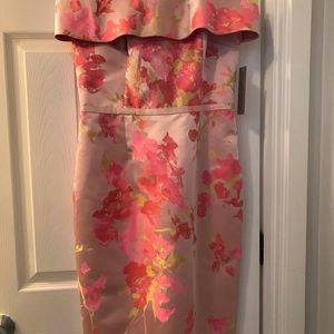 Off The Shoulder Flowered Pink Dress